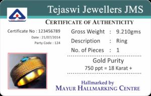 Jewellery Plastic Warranty Card